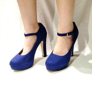 Elle Velvet Royal Blue Mary Jane Pumps